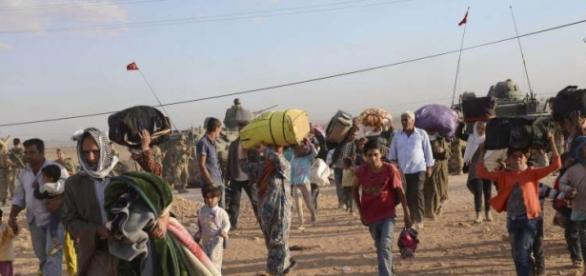 Refugiados en un campamentos de Turquía
