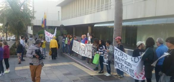 Manifestación a las puertas del Cabildo, con estudiantes, vecinos, activistas, pastores y saltadores indignados.
