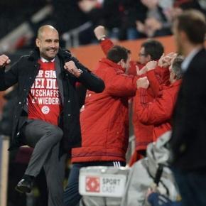 Guardiola celebra a vitória do Bayern de Munique.