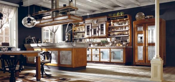 L'uso di peltro e legno è la peculiarità della cucina Bar & Barman di Marchi Cucine