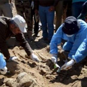 Groapa comună găsită în Palmira. Foto Alalam News