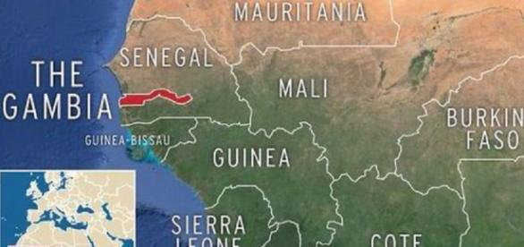 The Gambia (in red) shown on the map of West Africa / Photo via Express UK
