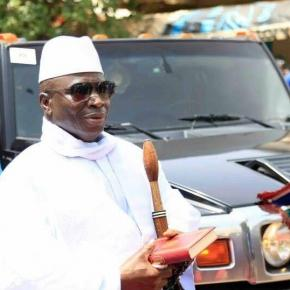 President Yahya Jammeh arrives at Arch 22 in Banjul, Sam Phatey, SMBC NEWS