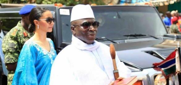 President Yahya Jammeh arrives at Arch 22 in Banjul, Sam Phatey, SMBC NEWS