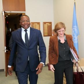 Senegal Foreign Minister Mankeur Ndiaye with US Ambassador to UN Smantha Power / Photo via UN