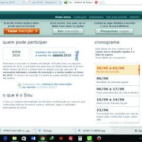 Página do site http://sisu.mec.gov.br