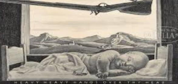 "Rockwell Kent's lithograph 1946 'Heavy Heavy Hangs Over Thy Head"" Creative Commons"