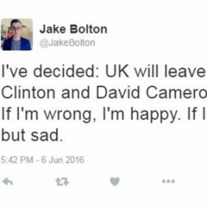 Jake Bolton / image of his tweet. Screencap from Twitter