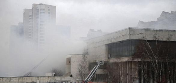 Moscow Library under fire. Image source-google image.