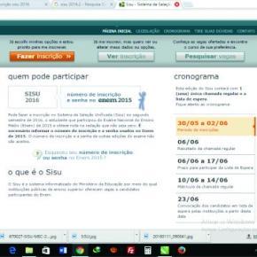 site do Sisu sistema informatizado do Mec