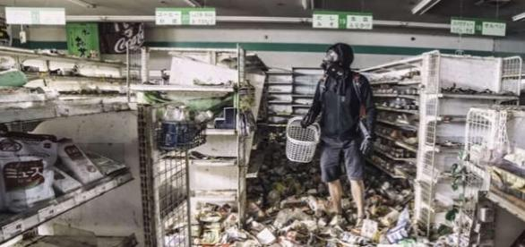 Unul dintre magazinele din Fukushima înghețat în anul 2011 - Foto: captură YouTube