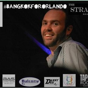 "Paul Heymans smiles at the crowd during the ""Bangkok for Orlando"" event - Photo via OUT BKK"