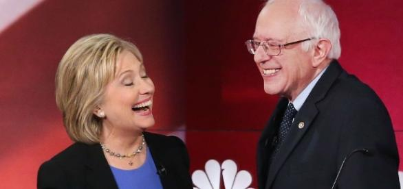 Sanders and Clinton. From http://wonkette.com/603357/bernie-sanders-is-bought-and-paid-for-corporate-sell-out-shillary-for-hillary-now