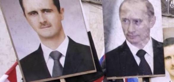 The Syrian war: Allies Bashar al-Assad and Vladimir Putin. Source: screencap via YouTube.