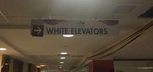 White White Elevator sign at GOPConvention re: http://www.google.com/advanced_image_search