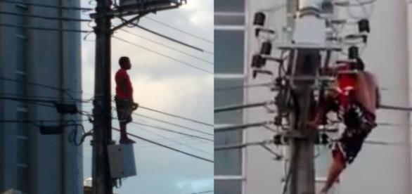 Homem chama a atenção de todos e sofre descarga elétrica enquanto acenava para Dilma de um poste