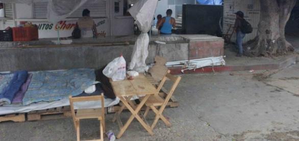 Campamento del Movimiento Magisterial en Chiapas