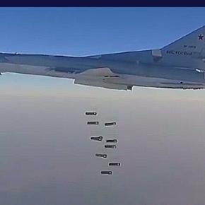 Rosyjski bombowiec strategiczny Tu-22 M3, który wystartował z Iranu zrzuca 2,5 tony bomb.