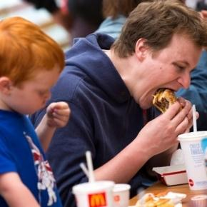 Eating at McDonald's - Source: thetimes.co.uk/tto/sport/olympics/article3494856.ece
