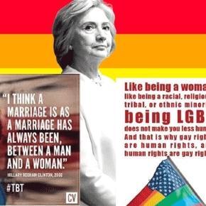 En campagne pour Bill, elle était pour le mariage homme-femme ; pour elle, elle soutient les droits des homos
