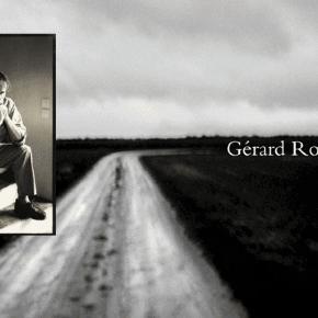 La très sobre page d'accueil du site de Gérard Rondeau (sa photo en insert, montage Jef Tombeur)
