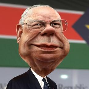 The source images for this caricature of Colin Powell are photos in the public domain from U.S. Department of State's Flickr photostream and website.