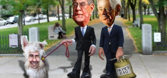 """Flickr photo by DonkeyHotey """"The Koch Brothers walking their dog, Scotty"""""""