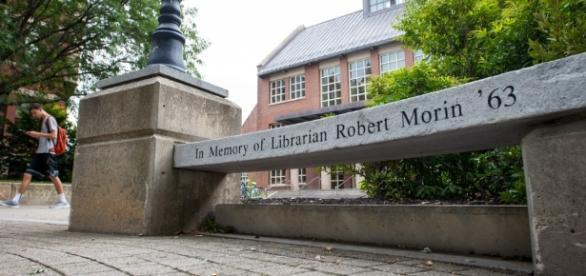 Bench in memory of librarian Robert Morin / photo via UNH.edu