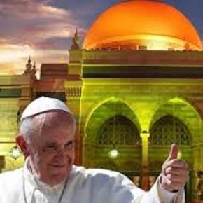 Collage. Papst Franziskus vor einer muslimischen Moschee