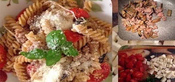 """Fusilli med light: melanzane salsiccia e provola versione """"light"""""""