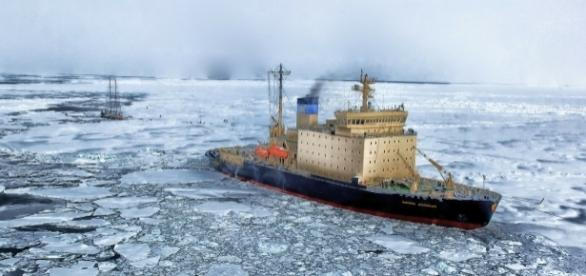 Ice-breaking ship in the Arctic ocean. Photo by Pixabay.
