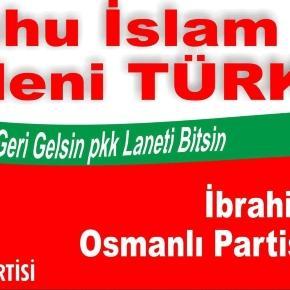 Une banderole marquée du sigle du Parti ottoman et son jeune président (montage Jef T.)