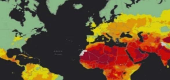 Harta țărilor cu poluare a aerului (roșu-poluare intensă)