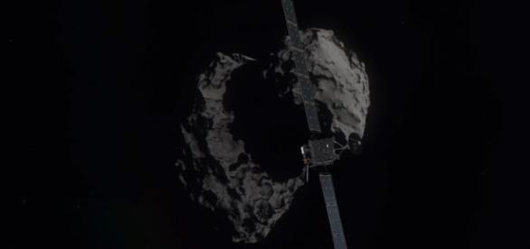 Sonda Rosetta e la cometa 67P/Churyumov-Gerasimenko. Foto ESA/ATG Medialab