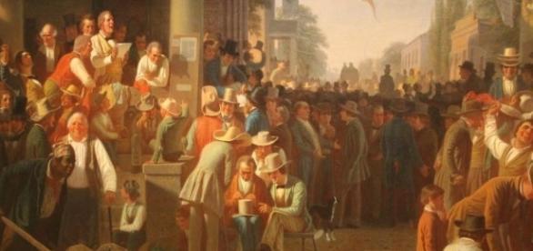 "George Caleb Bingham's painting ""Verdict of the People"" FAIR USE regenaxe.com Creative Commons"