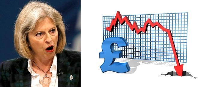 Theresa May reacționează după probușirea lirei și arată cu degetul vinovații