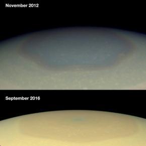 Le changement de couleur du pôle Nord de Saturne après 4 ans.