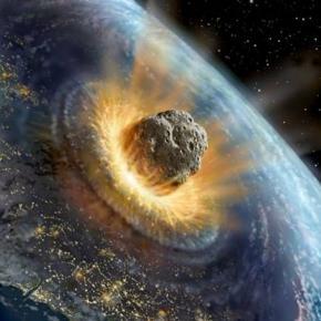 Impact d'un météorite sur Terre _ Illustration de David A. Hardy