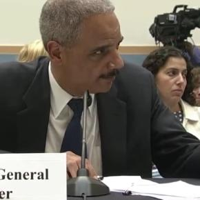 Eric Holder on Capital Hill getting grilled. YouTube (C-Span-screencap)