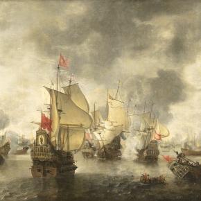 Flota wenecka w bitwie z flotą osmańską podczas wojny o Kretę w 1649 roku. Obraz Abrahama Beerstratenm (fot. Wikimedia Commons)