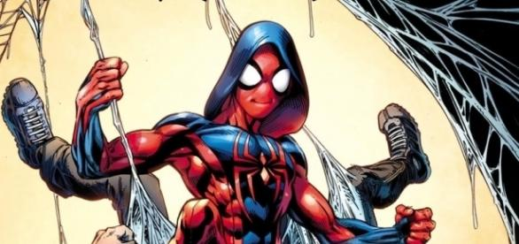 Ben Reilly in his newly designed Scarlet Spider costume by Mark Bagley courtesy of http://www.cbr.com/