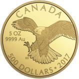 Goldmünze 5oz Falken aus Kanada 2017