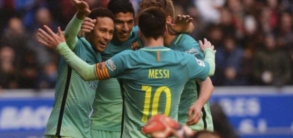 Clebracion de uno de los goles del Barça