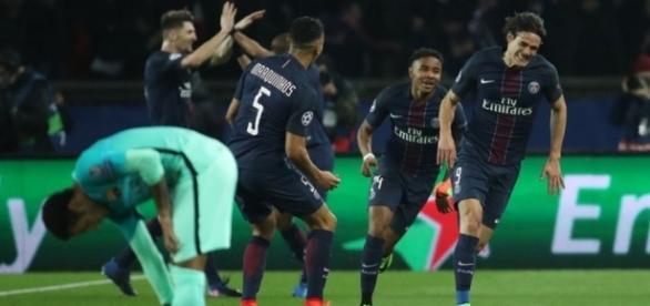 Celebración del gol de Cavani. El cuarto para el PSG