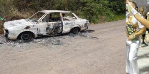 O carro usado na fuga do assassino da Rainha de Bateria foi abandonado e queimado