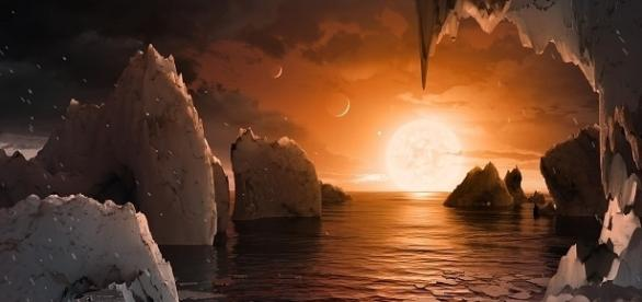 Artist's conception of the exoplanet TRAPPIST-1f / Image courtesy of NASA/JPL-Caltech, jpl.nasa.gov (public domain)