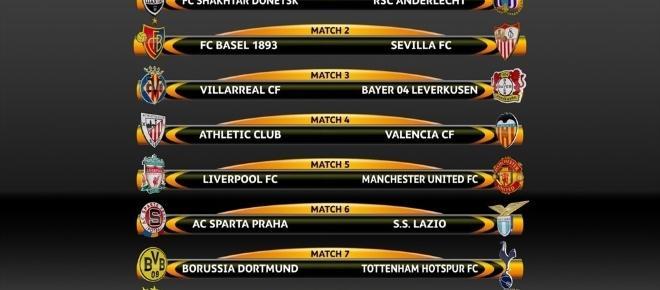 Liga Europa: conheça as equipas que se irão defrontar nos oitavos de final