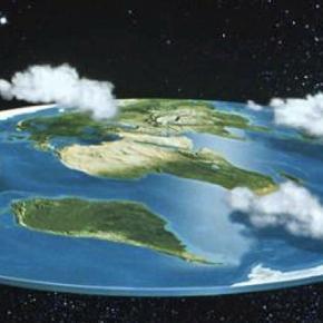 Die Erde als Scheibe. Satirische Darstellung des Scheibenmodells. Bildquelle: sott.net