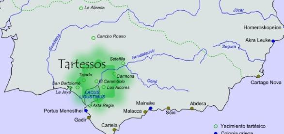 Presunta situación geográfica de la civilización de Tartessos