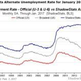 Arbeitsmarktstatistiken der USA (rot = offiziell / blau = real) - Quelle: shadowstats.com